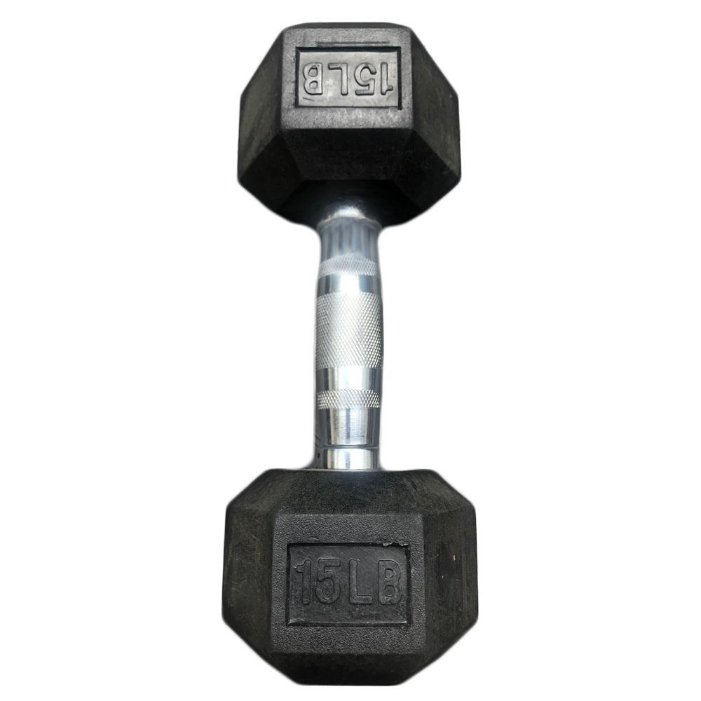Hex Dumbbells with Rubber Ends  (5lb, 10lb, 15lb)