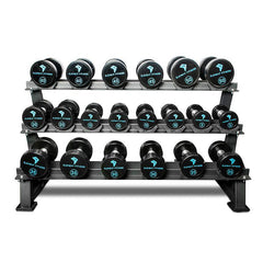 Element Fitness 5lb-50lb Dumbbell Set with Three-Tier Rack