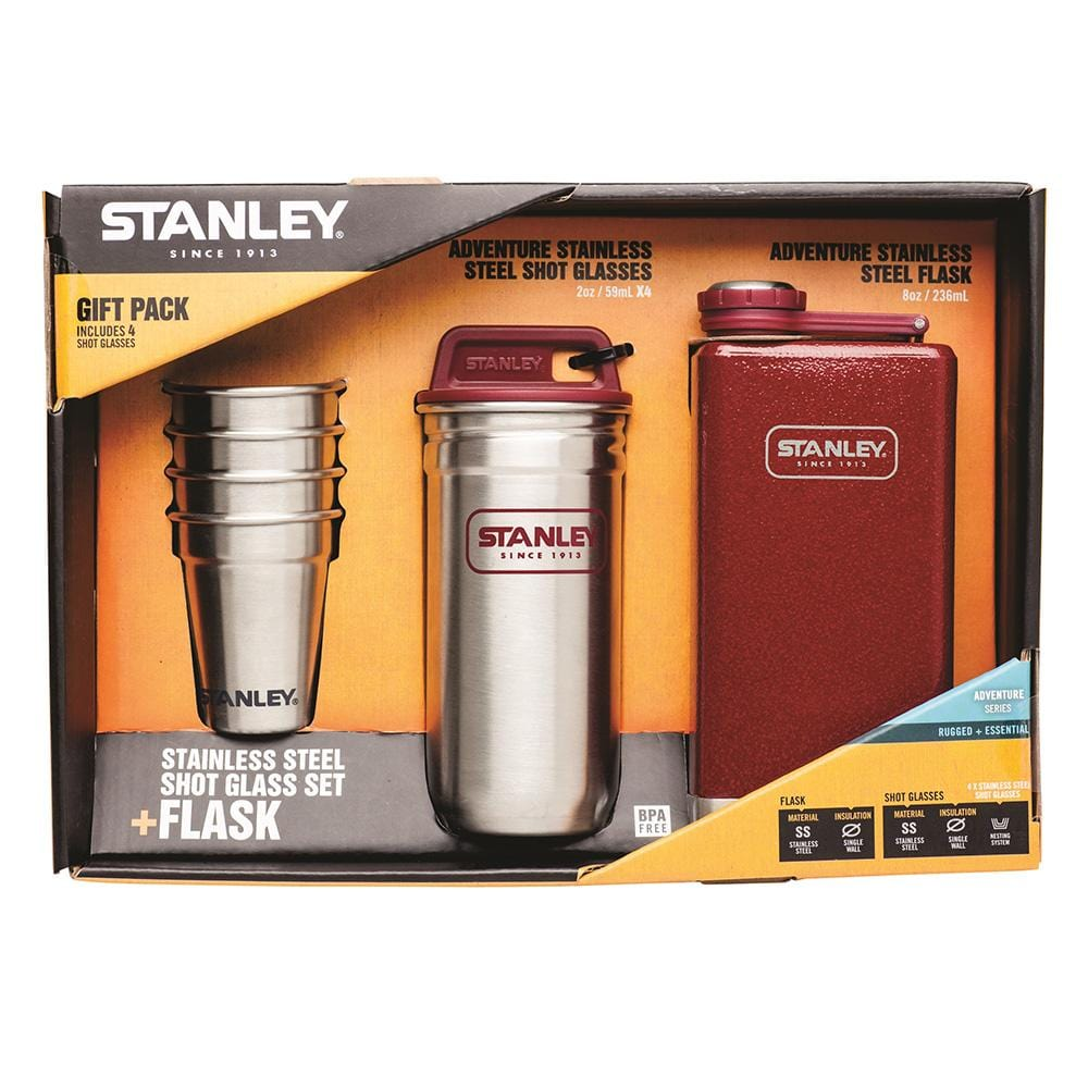 Adventure Steel Shots and Flask Gift Set - Red