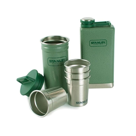 Stanley Adventure Steel Shots and Flask Gift Set - Hammertone Green