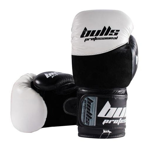Bulls Professional Elite Boxing Gloves - White/Black