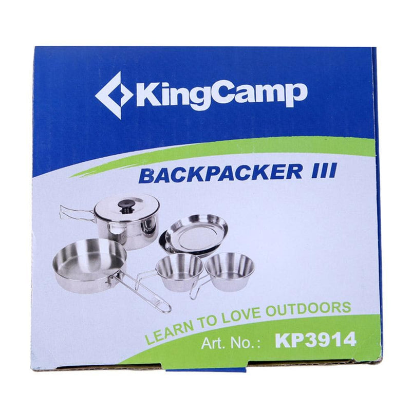 KingCamp Backpacker III Foldable Camping Cookware Set - Silver