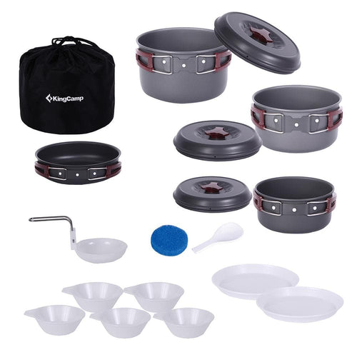 KingCamp Climber III Foldable Camping Cookware Set - Light Gray