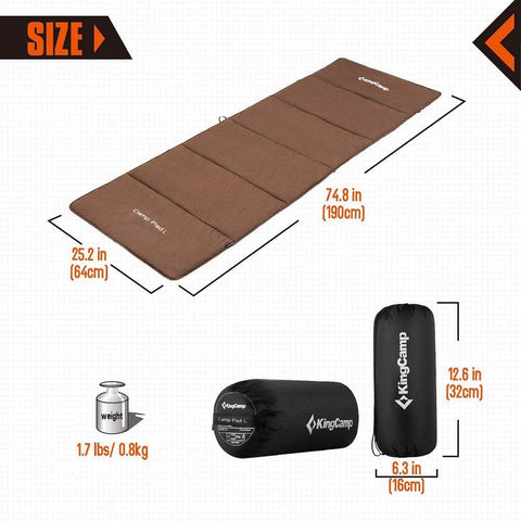 KingCamp Multi-Purpose Comfort Cot Sleeping Pad - Coffee