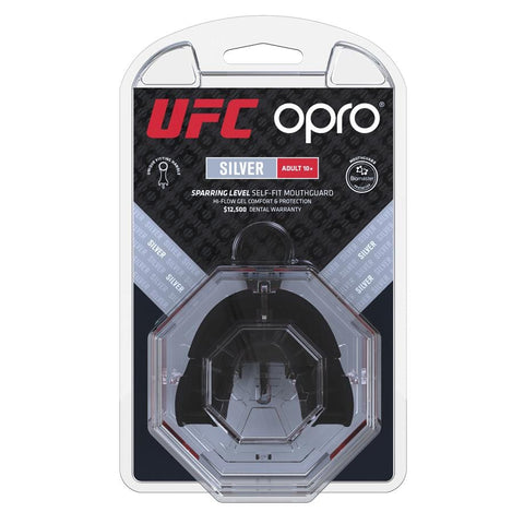 Opro Mouthguard Self-Fit UFC Silver - Black/Red