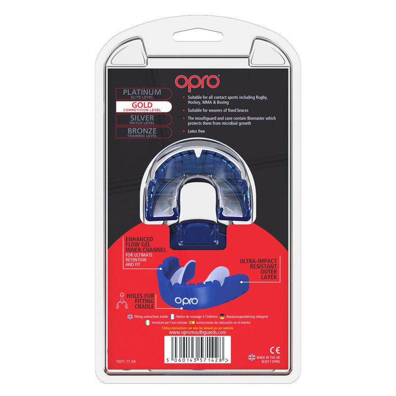Opro Mouthguard Self-fit Gen 4 Gold Braces - Pearl/ Blue Pearl