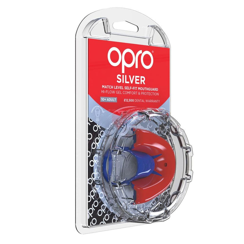 Opro Mouthguard Self-fit Gen 4 Silver - Red/Blue