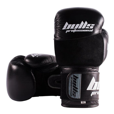 Bulls Professional Elite Boxing Gloves - Black/Black