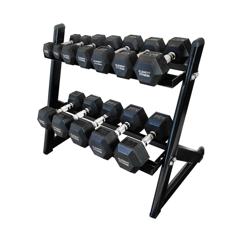 Element Fitness Weight Set Hex Dumbbells with PVC Mat - 210lb