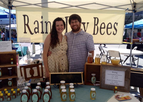 Selling micro local Seattle honey at the Shoreline Farmer's Market