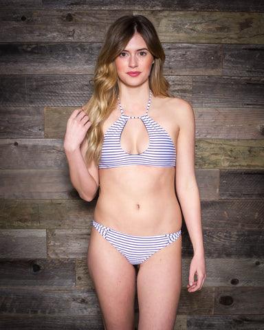 Bettinis | Keyhole Twist Halter | Stripe Forest