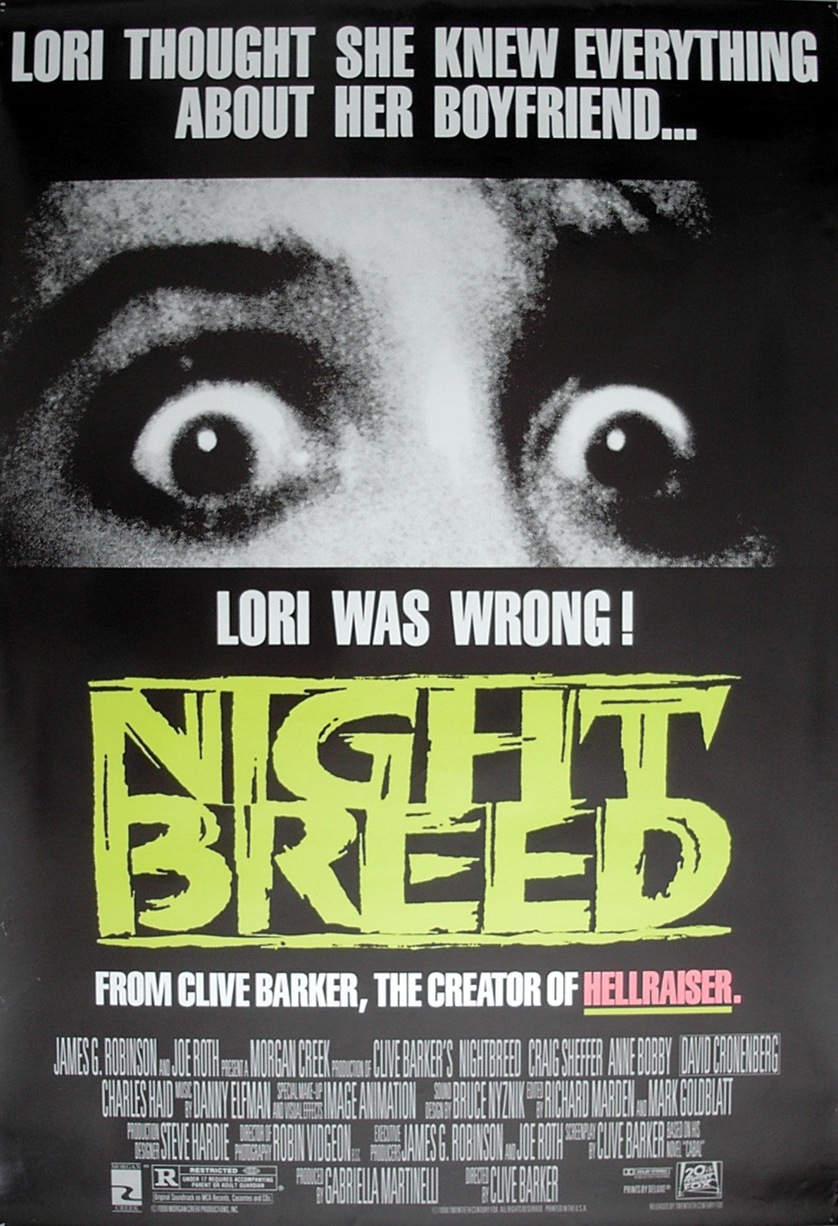 NIGHTBREED - US one-sheet poster