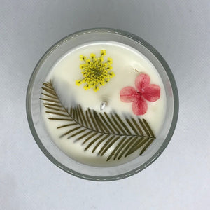 Pressed Flower Candles - Clear Rocks Glass
