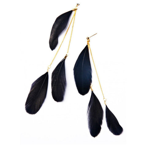 African handmade layered gold chain feather earrings for women