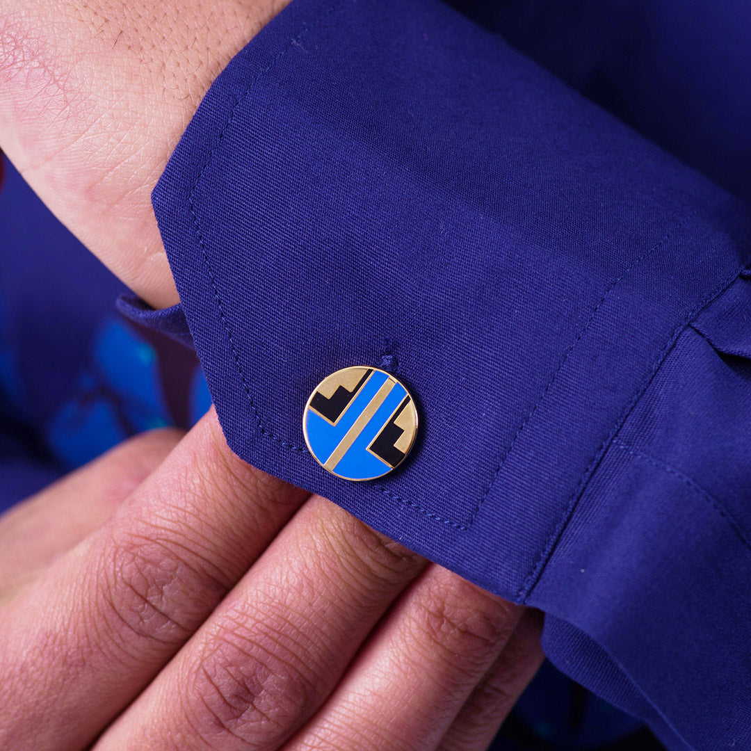 Blue geometric African Ndebele cufflinks for men