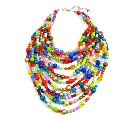 The Township Tart South African multicolor handmade faux pearl bib necklace