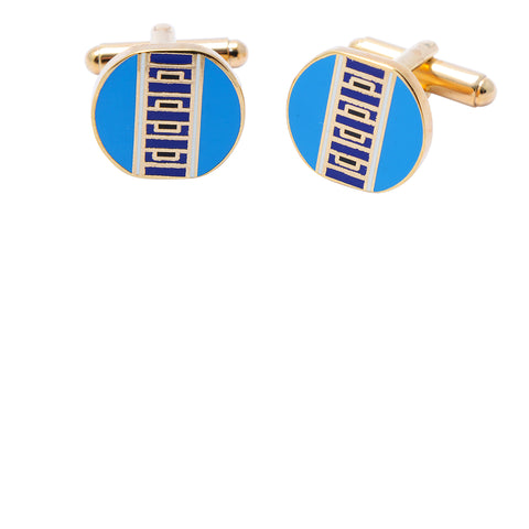 Light blue Ndebele-inspired geometric patterned cufflinks