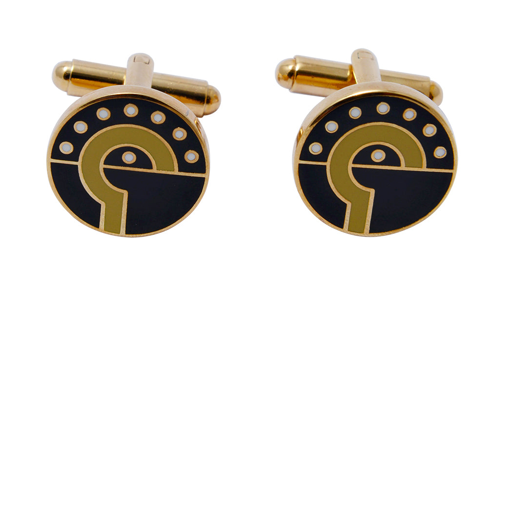 Black and gold-toned Ndebele-inspired geometric patterned cufflinks