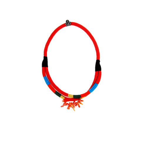 African Double Ndebele handmade chunky red coral statement rope necklace for women