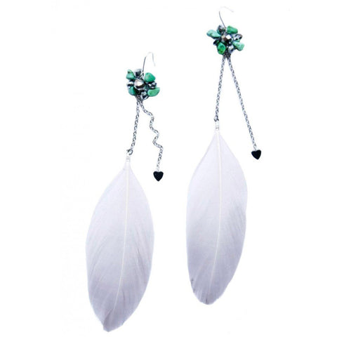 Handmade white feather dangling earrings accented with semi-precious stones
