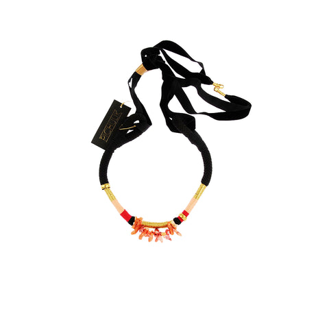 South African Ndebele black velvet rope coral statement necklace. This handmade statement coral rope necklace will add exotic elegance to any outfit.