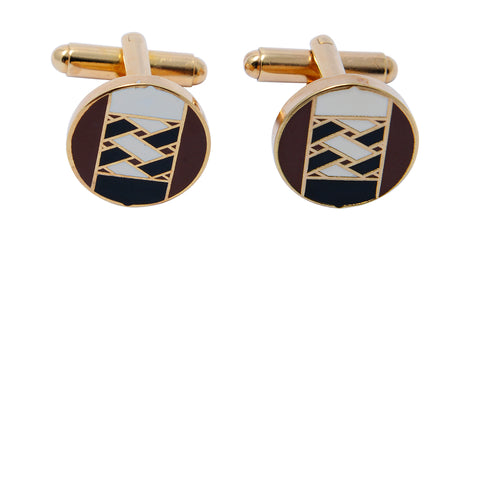 Gold-toned brown African Ndebele-inspired geometric patterned cufflinks