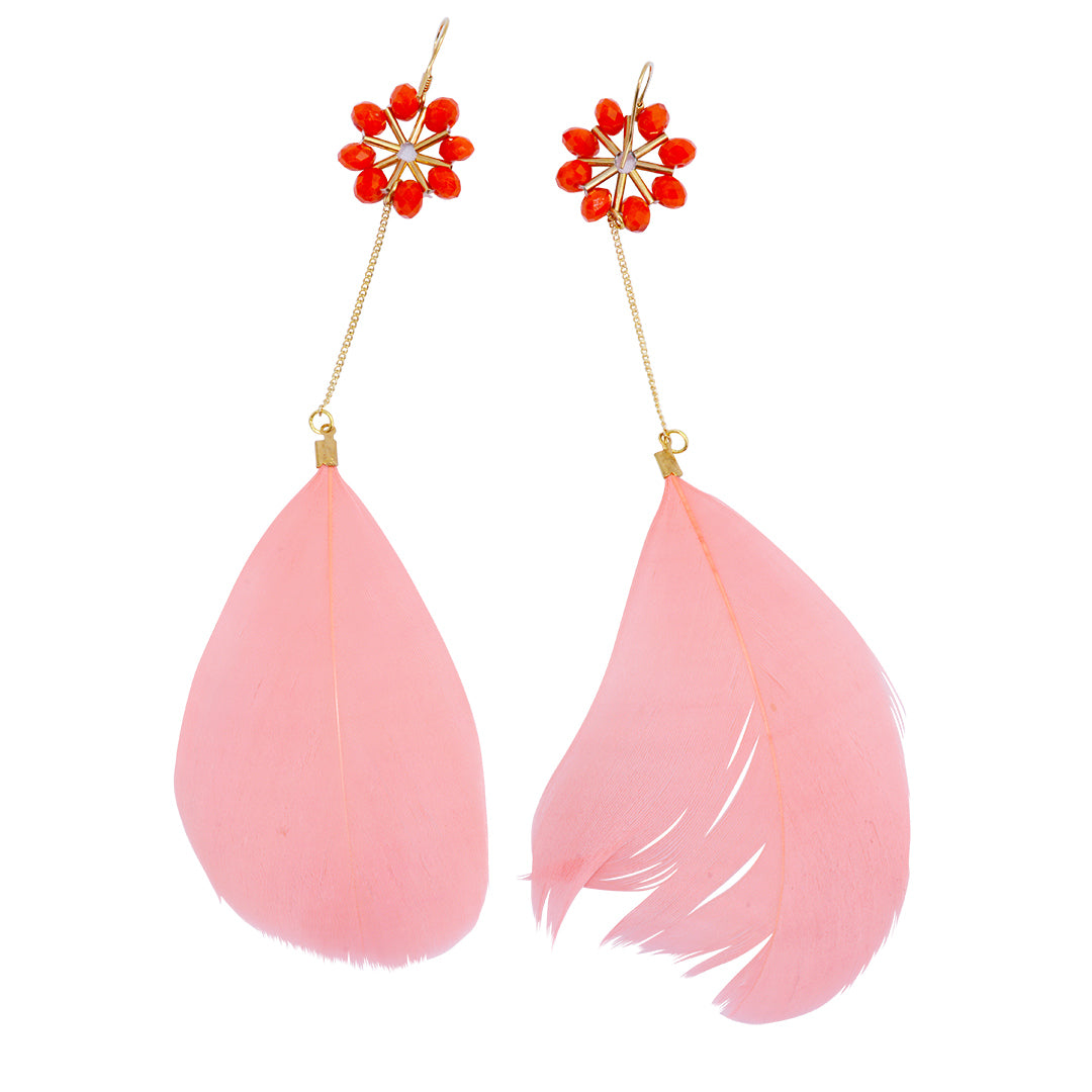 Red coral feather dangle earrings with semi-precious coral stones accents