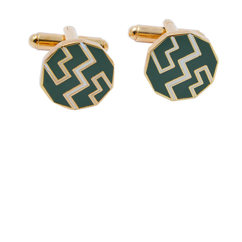 Gold-toned green African Ndebele-inspired geometric patterned cufflinks for men