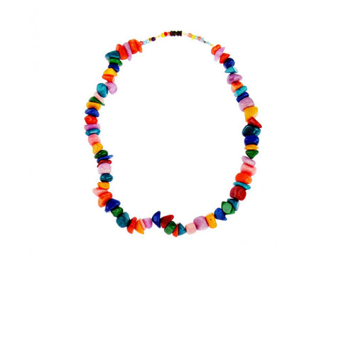 Multicolor semi-precious African gemstone necklace. This handmade beaded gemstone necklace is alluringly beautiful. The necklace is handmade in Senegal.