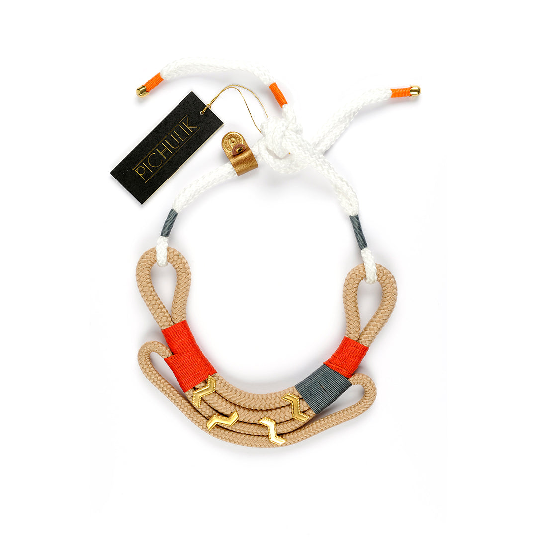 Beige Nomad-inspired handmade African statement rope necklace