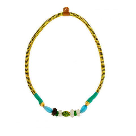 African Ndebele Single dynamic statement cord rope necklace