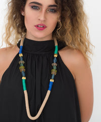 African Ndebele glass beaded cord rope statement necklace