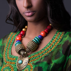 YOONYQ | African Tribal Queen beaded statement collar necklace with bronze pendant