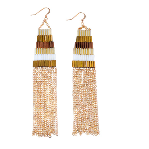 African-inspired handmade Cleopatra bronze-toned hoop earrings for women