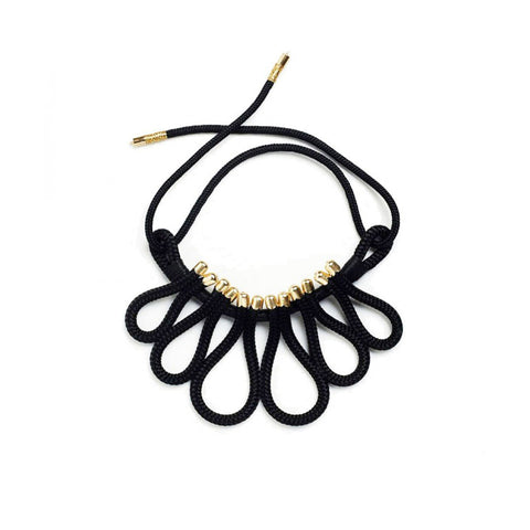 The Peacock handmade African-inspired black cord rope statement necklace