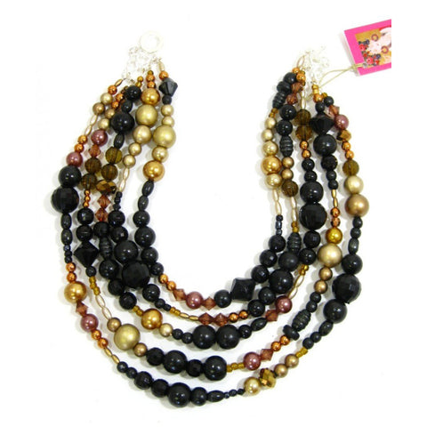 African handmade onyx faux pearl choker necklace for women