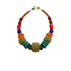African Tribal Princess beaded statement collar necklace