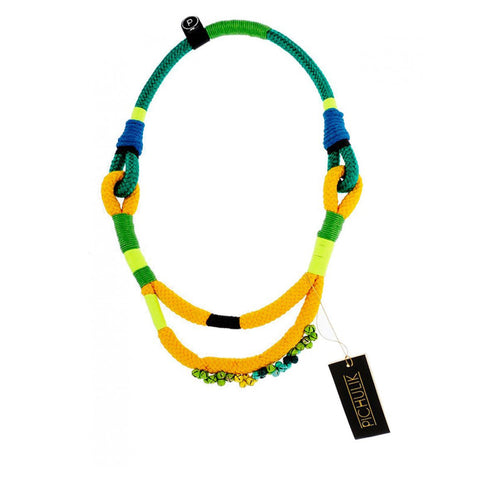 The Thielle Commission South African Ndebele yellow-green statement cord rope necklace.