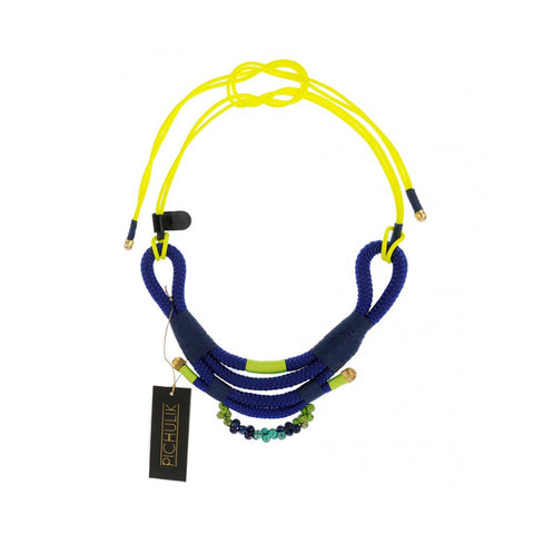 Nomad-inspired blue-yellow African statement cord rope necklace