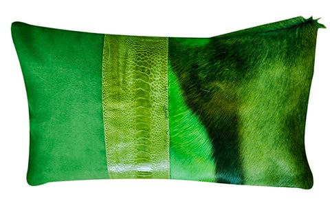 Luxury throw pillow in green springbok fur
