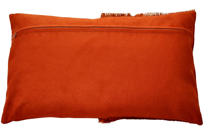Orange springbok hide, ostrich shin and faux suede cushion cover