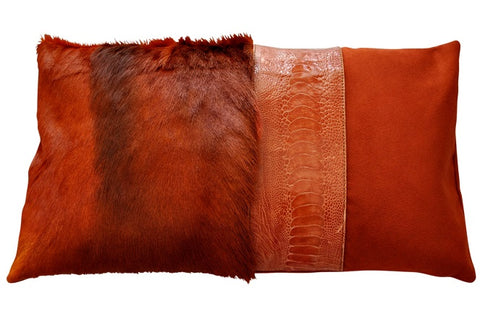 Luxury decorative red throw pillow from springbok fur