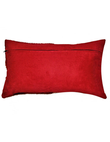 Red springbok hide, ostrich shin and faux suede cushion cover