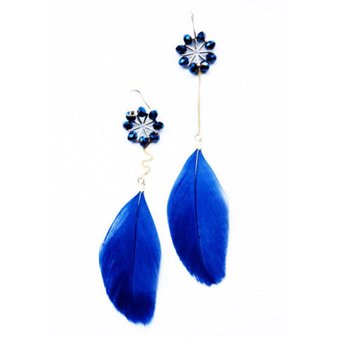 Cobalt blue feather dangle earrings for women | accented with semi-precious stones | Handmade African earrings