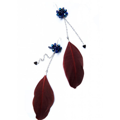 Handmade dark red feather dangle earrings with semi-precious stones
