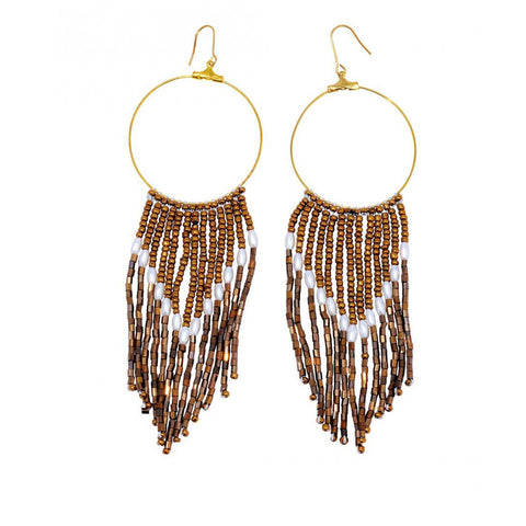 African handmade beaded bronze hoop earrings
