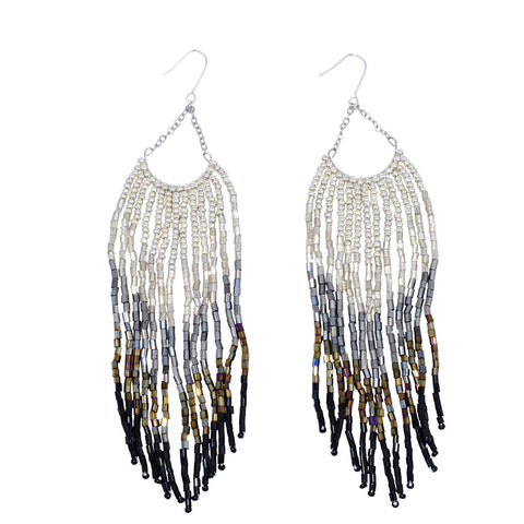 African handmade beaded feather-style sliver hoop earrings