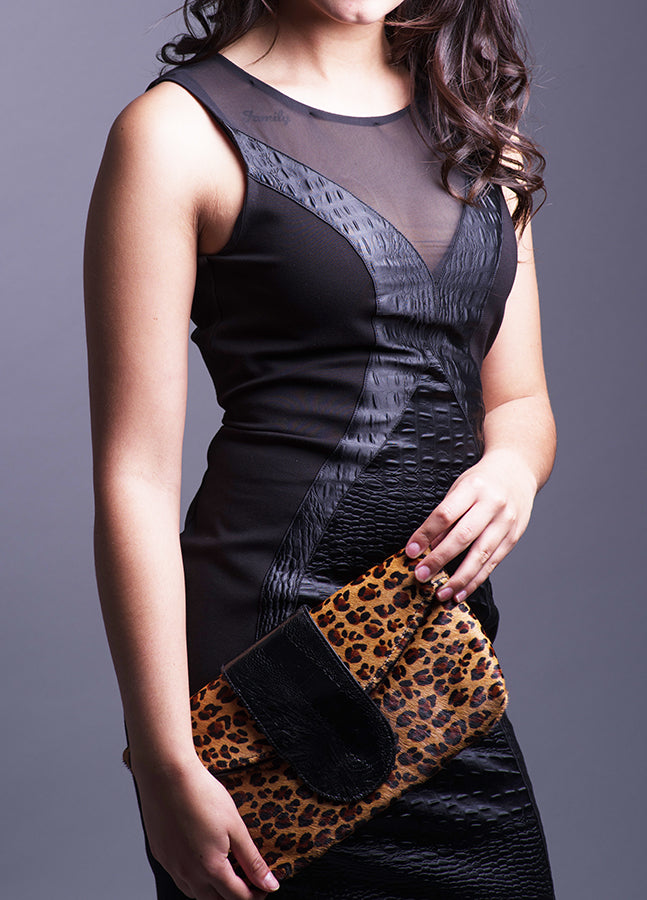 Seductively wild cheetah print clutch bag