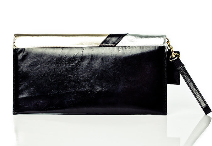 Sleek silver designer clutch bag