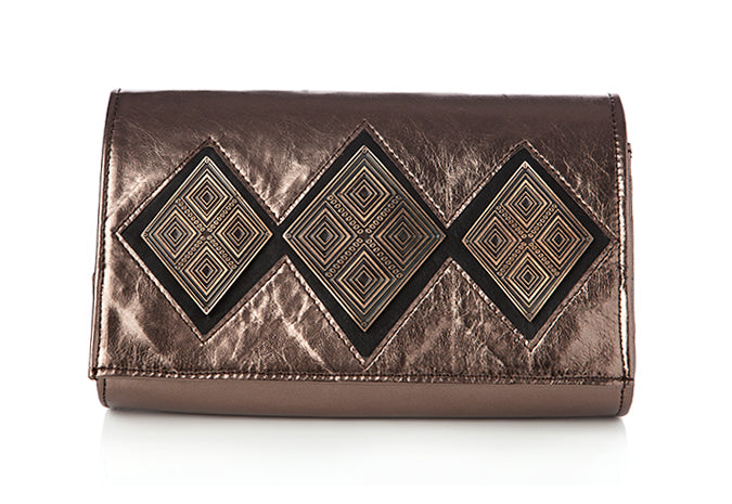 The Reese bronze clutch purse by Rock & Herr